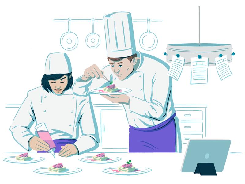 Social Management Solutions Page drawing digital illustration editorial illustration scene ipad tools socialmedia cooking food woman man kitchen chef