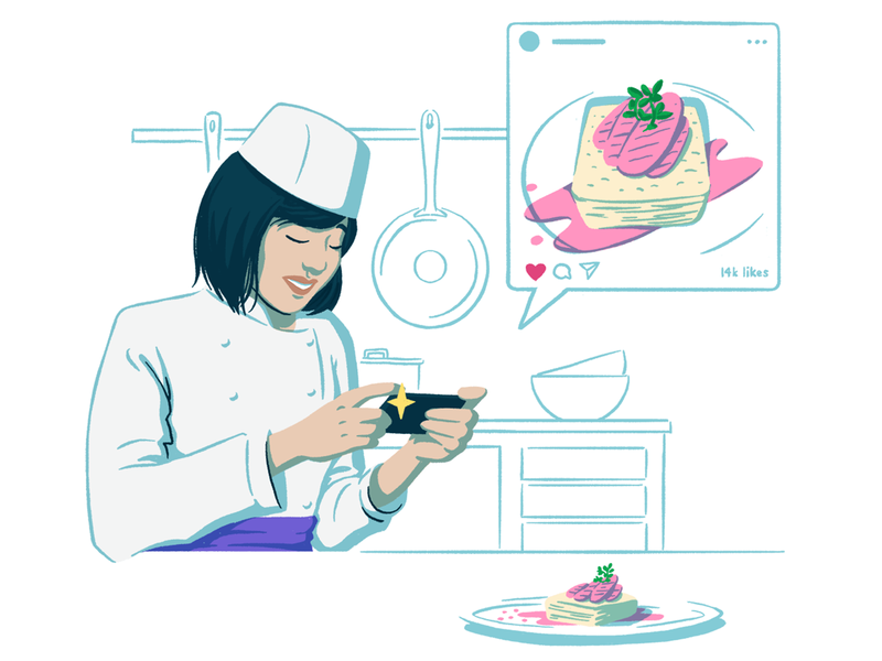 Social Management Solutions Page Illustration #2 kitchenware iphone chef hat socialmedia instagram kitchen chef web woman drawing digital illustration