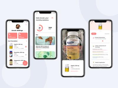 Medication scanner & reminder mobile app medicine app drugs pills medicine medical design app android mobile ux ui ios