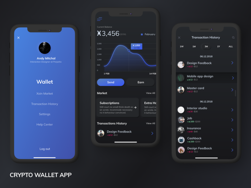 [WIP] Crypto wallet app android app ui mobile ux mobile app ios bitcoin wallet blockchain crypto wallet