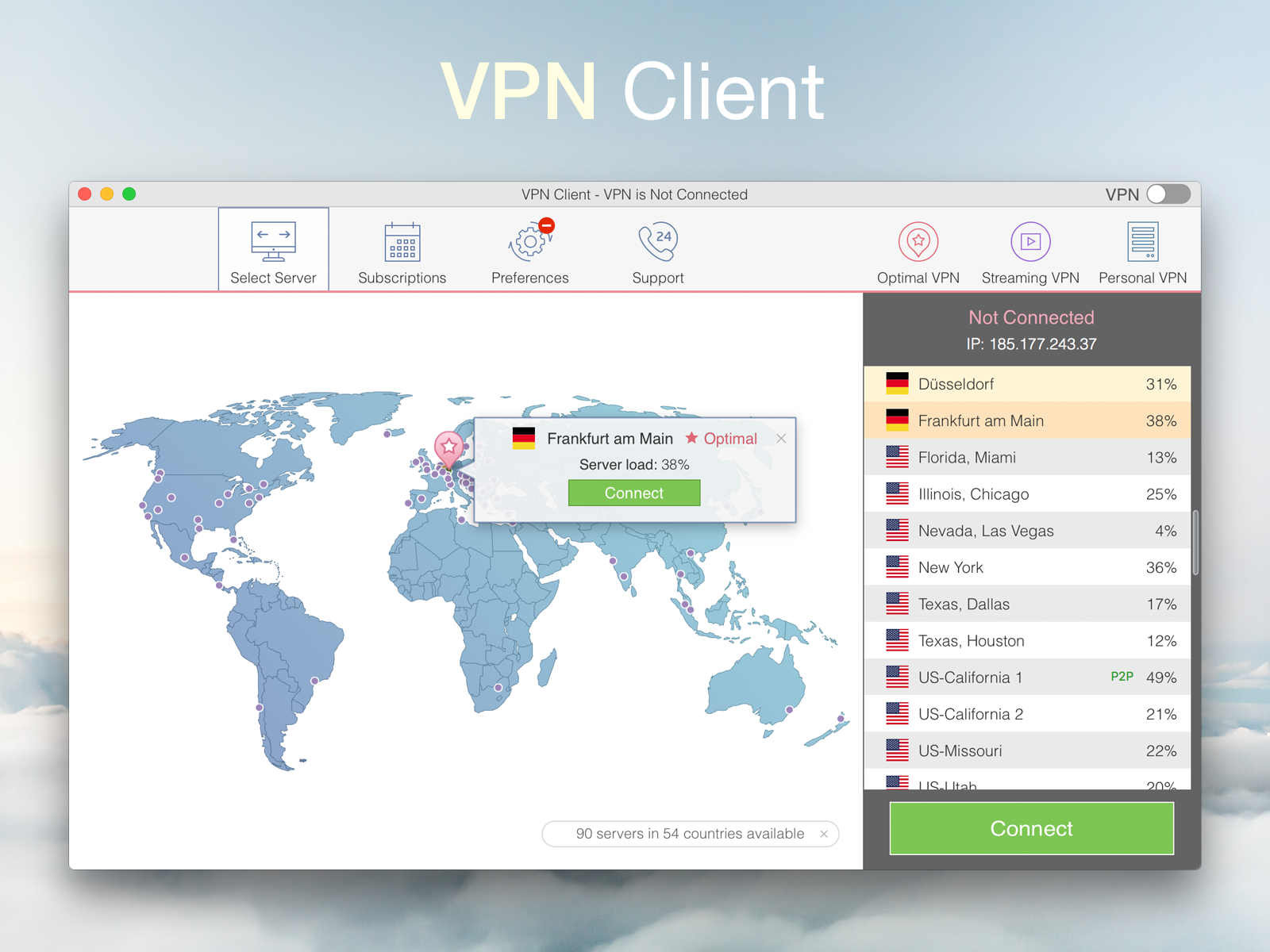 VPN Client by Julia Ivanova on Dribbble