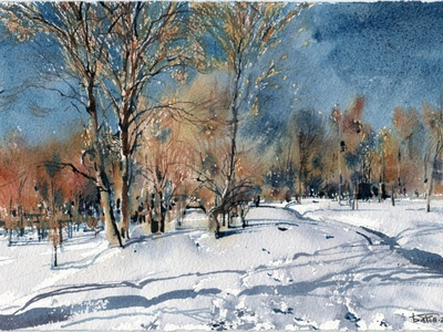 20200212 Snow 19x28 artbatdiversion wip snow winter landscapepainting landscape drawing painting watercolor watercolour