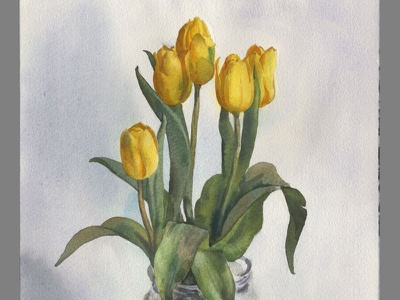 Yellow tulips watercolour watercolour flowers painting watercolor