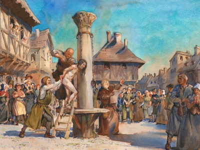 Myeon-sur-Loire - Francois Villon at the pillory watercolor faina-grimberg medieval poet poetry paris françois-villon francois-villon illustration вийон villon