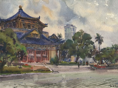 Guangzhou SunYat-sen Memorial Hall guangzhou outdoor painting painting urbansketchers cityscape watercolour pleinair china