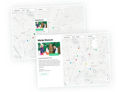 UIT op de kaart - UI Design utrecht street karta nijntje events search tags gis web tool app ux typography museum design ui marker data mapviewer map