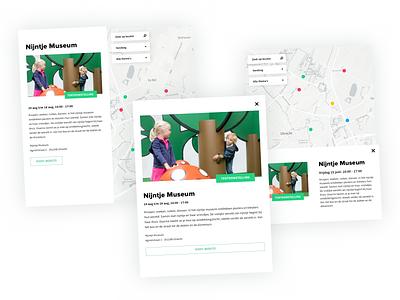 UIT op de kaart - UI Design popup modal tags point utrecht nijntje gis web ux ui typography tool museum marker mapviewer map design data app