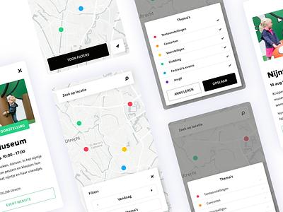 UIT op de kaart - UI Design utrecht karta modal save search point responsive gis flat web tool app ux museum design ui marker data mapviewer map