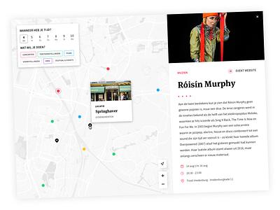 UIT op de kaart - UI Design gis uitagenda ux branding typography tool museum marker map mapviewer data coding web illustration flat appdesign icon design app ui