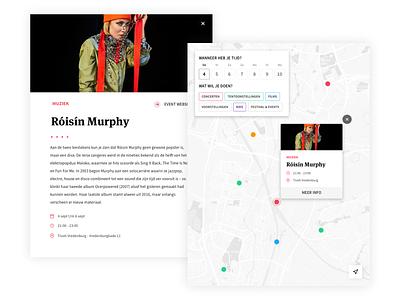 UIT op de kaart - UI Design gis icon branding coding data design typography ux web ui app map icon events tags datepicker agenda popup mapmarker mapviewer map