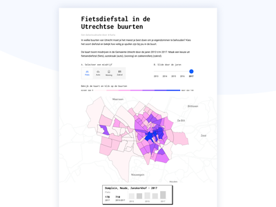 Crime theft | Interactive data visualization gis webapp responsive datavisualization interactive buttons selector timeslider theft crime utrecht map mapviewer iconography web ux icon design ui