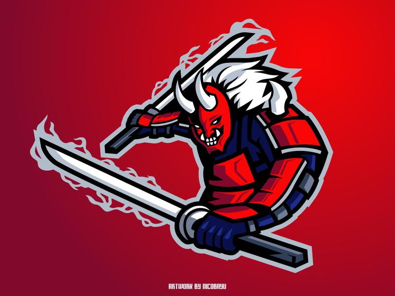 Samurai Oni Mascot Logo