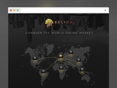 Eclion Landing Page landing page eclion landing page webpage web design map lion dark ui market commerce