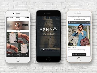 Esmyö app iphone app uiux design ios fashion clothes black and white elegant