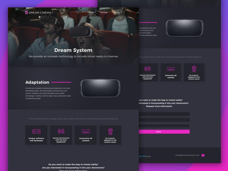 Dream Cinema landing page | System & Films vr vrcinema samsung gear landing page