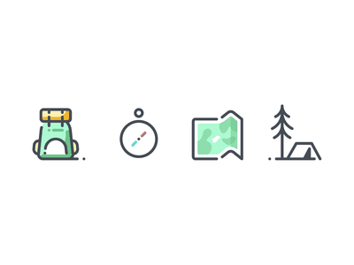 Travel hiking map backpack camping forest compas location icons pack icon a day icons set icon app planet travel vacation icondesign pictogram icon vector icons summer