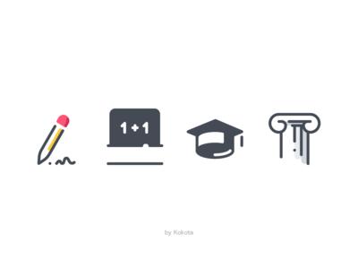School hat pencil column school board school knowledge training study school app icons pictogram icondesign icon app vector icons set icon icons pack illustration design