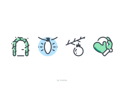 Xmas dribbble icondesign icon pictogram snowball gloves game toy spruce branch new year light bulb xmas winter holiday garland door decoration christmas