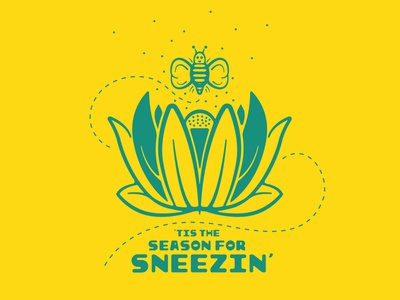 Spring! runnynose nose kleenex buzz design graphic design icon ux illustration spring festival allergies sneeze yellow flowers bee bees springtime