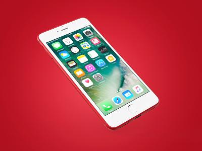 iphone 7 Red mockup render smartphone metal red iphone7 iphone apple 3d
