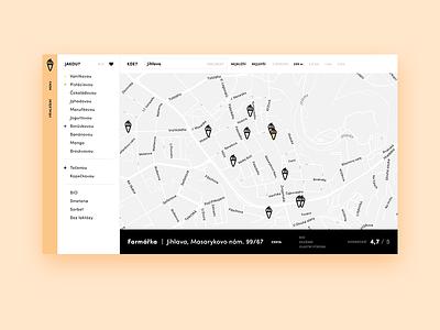 Ice Cream search website interface search map ice icecream ui layout webdesign design web