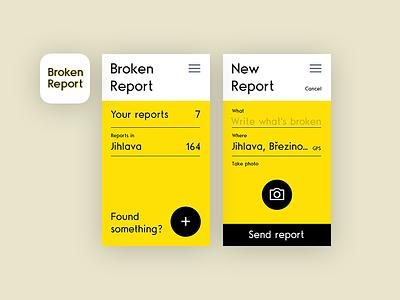 Broken Report report concept ux ui mobile design app