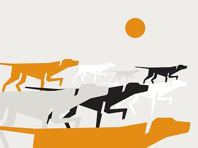 Too many pointers sun icon logo design graphic pointer retro illustration dog