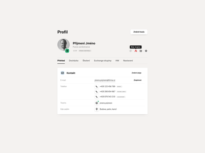 Profile icon tabs card user info product design design ux ui internal application app webapplication webapp webdesign web user profile