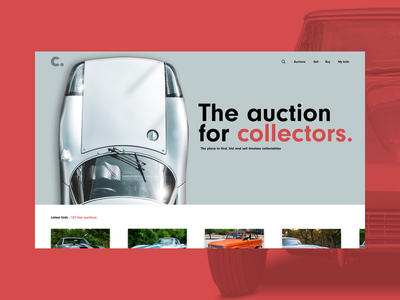 Car Auction concept branding typography desktop site design ux collectors cars concept design visual design ui