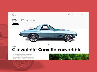 Car Auction concept #2 minimal web ux ui typography desktop concept design collectors cars branding
