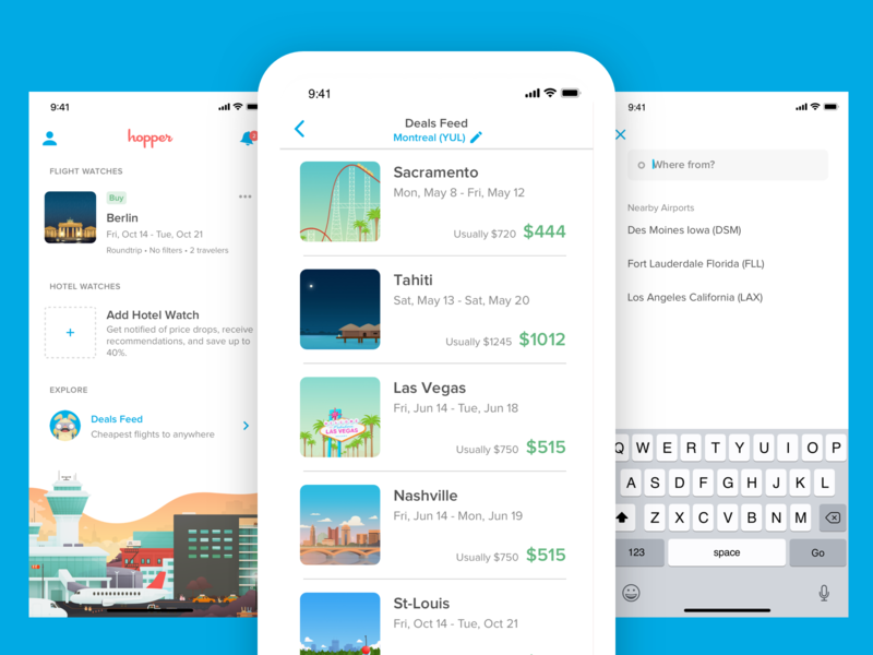 Deals Feed ios search minimal design app mobile travel interface ux ui