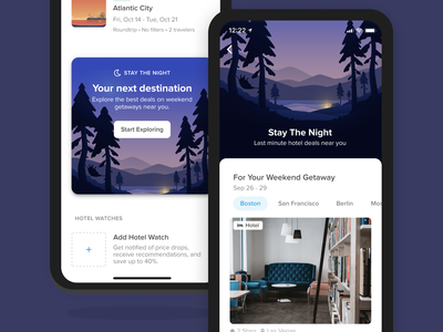 Stay The Night Hub v1 inventory hotels results product ui ux interface mobile travel