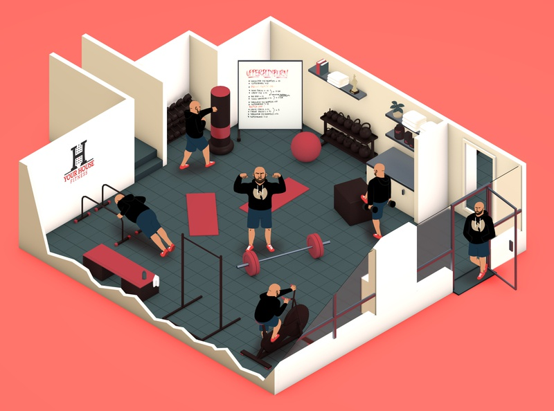 Sergio Working Out - Your House Fitness 2d isometric 3d illustration