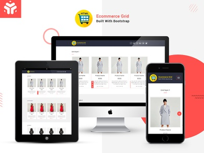 Ecommerce Grid is a Multipurpose Product Listing HTML welldocument sass retina productlisting javascript html5 html ecommerce css3