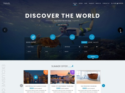 Travel Booking Website Creative Design Layout ux-ui design corporate slickdesign responsive travelagency creative portfolio yankeeinfoweb yankeethemes