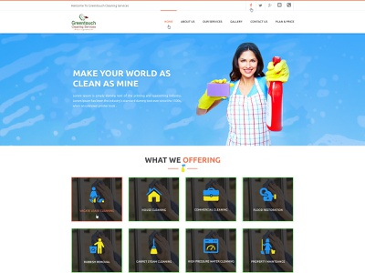 Greentouch Cleaning Australia design typography branding ux logo illustration webdesign responsive portfolio corporate yankeeinfoweb creative yankeethemes