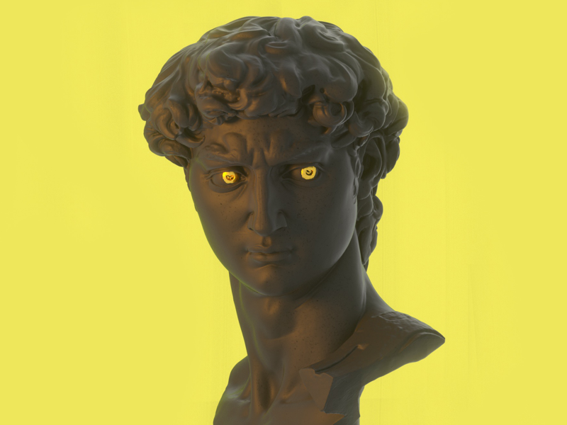 Golden eyes cinema 4d statue golden eyes