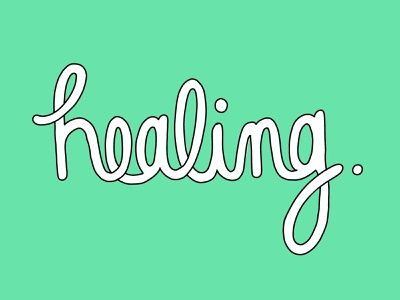 Healing cursive typography design outline drawing color typography hand lettering healing