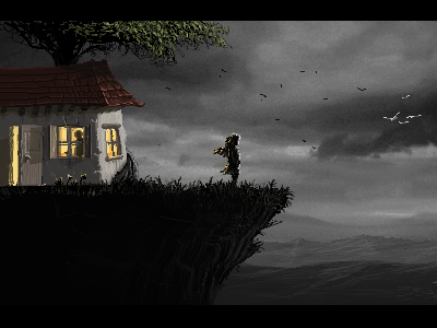 Behind Nowhere pixel art pixel game 2d mood dark clouds tree forest house retro 16 bits