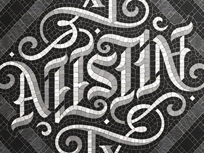Austin Collab with Mark Caneso ambigram typography handlettering lettering fauxsaics mosaic