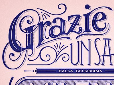 Grazie Postcard lettering typography vernacular italian