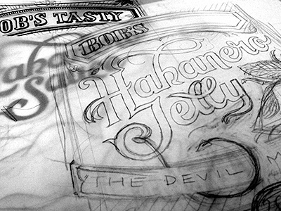 Habanero Jelly lettering sketch packaging