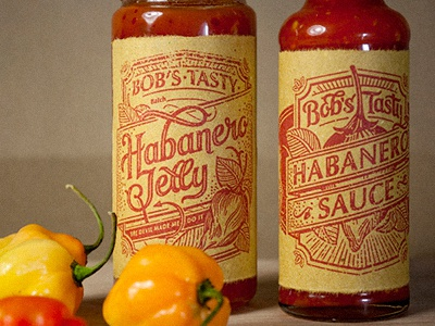Bob's Tasty Habanero Jelly/Sauce lettering illustration packaging
