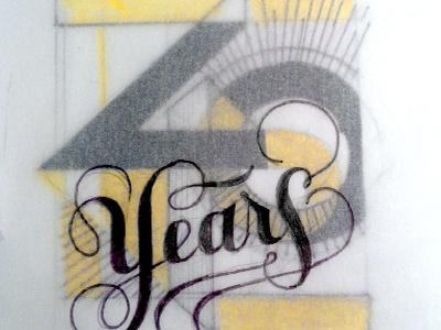40 Year Anniversary lettering 70s letterpress pratt