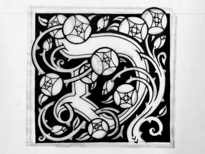 Whimsical D sketch william morris d initial cap floral