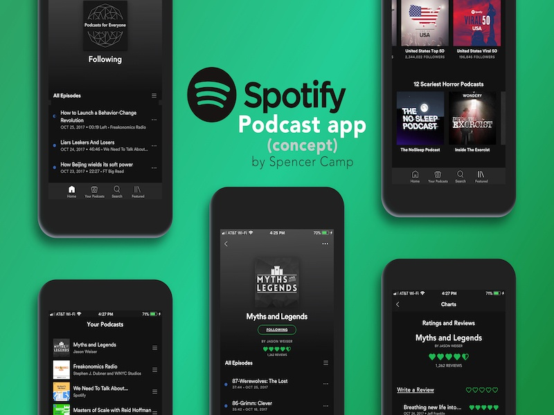 What if Spotify made a Podcast App? design concepts apps spotify usui product design