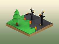Forest Fire Low Poly