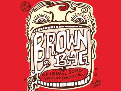 Brown Bag Songwriting Competition Flyer mouth song music poster man