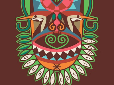 Leaf poster music mask african tribal woodpecker