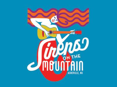 Sirens on the Mountain mermaid siren guitar hair woman music festival asheville